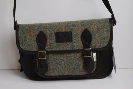 Taransay Deer Leather and Harris Tweed Satchel Bag Green